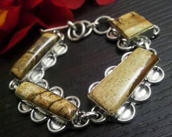 925 sterling Silver plated Picture jasper stone stunning fashionable Bracelet , gemstone Bracelet