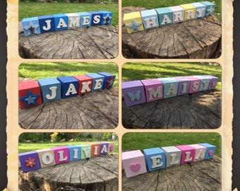 Wooden name blocks personalised childrens room decor Little kids treasures