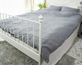 Linen dusty grey SET of DUVET cover and PILLOW shams -Dusty grey bed set -Light grey full/double /queen/king size linen bed set