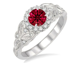 Bestselling On Sale: 1.25 Round cut Ruby and Diamond Engagement Ring in 14k White Gold affordable Ruby & diamond engagement ring