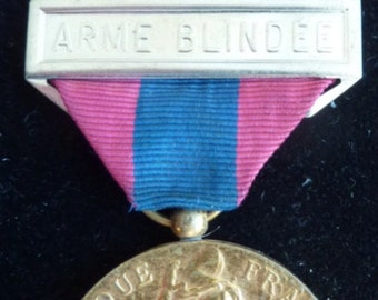 Original French Military Defence National Medal - Bar Arme Blindee (Cavalry/Tanks)