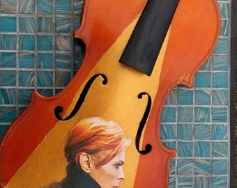Upcycled David Bowie violin front. 'LOW' album cover