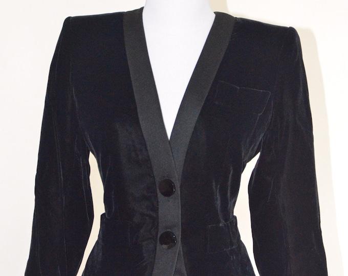 Vintage Estate Yves Saint Laurent Rive Gauche Black Velvet Blazer Made in Paris France