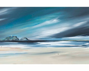 Last Light at Yellowcraigs by Kirsten Boston, Giclée Fine Art Print, Signed, Scottish Landscape, Seascape, East Lothian