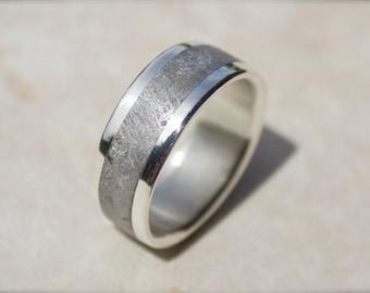 Stardust Meteorite Wedding Band, Meteorite and Silver Ring, Meteorite and Gold Wedding Rings, Offbeat Bride, Unique Wedding Rings