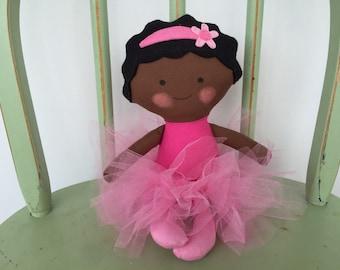 Handmade Black, African American Ballerina Doll in Pink