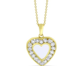 0.10 Ct. Natural Diamond I LOVE YOU Heart Pendant Solid 10k Yellow Gold