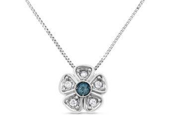 0.23 CT Natural White & Blue Irradiated Diamond Flower Pendant in Fine Silver