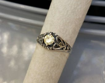 Canary Diamond Ring.  .37 carat Genuine and Natural Diamond in Sterling Silver