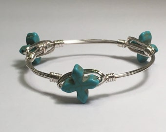 Little Girl's Turquoise Cross Wire Wrapped Bracelet, Bangle Bracelet, Wire Wrapped Bangle