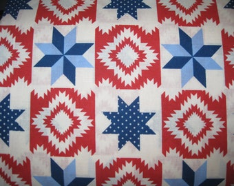 100 percent cotton fabric/red/blue/navy/white/quilting/crafts/apparel