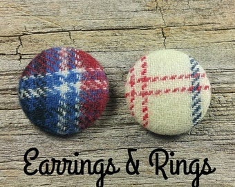 Navy red plaid fabric covered button earrings, fabric covered button clip on earrings, fabric covered button ring, tartan earring, flannel