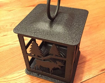 Moose Steel Candle Lantern