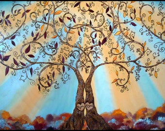 "24"" x 32"" Custom Colorful LOVE Trees- Wood Burned & Oil Painted"