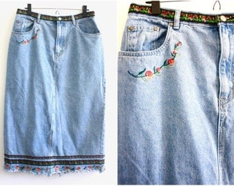 90's Bill Blass Jeans Denim Maxi Skirt with Floral Embroidery 14 | Long Jean Skirt | Festival Skirt | Vintage Embroidered Denim