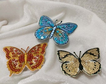 Wholesale Lot  12pcs    sequin  butterfly  embroidered iron on patch   6cm