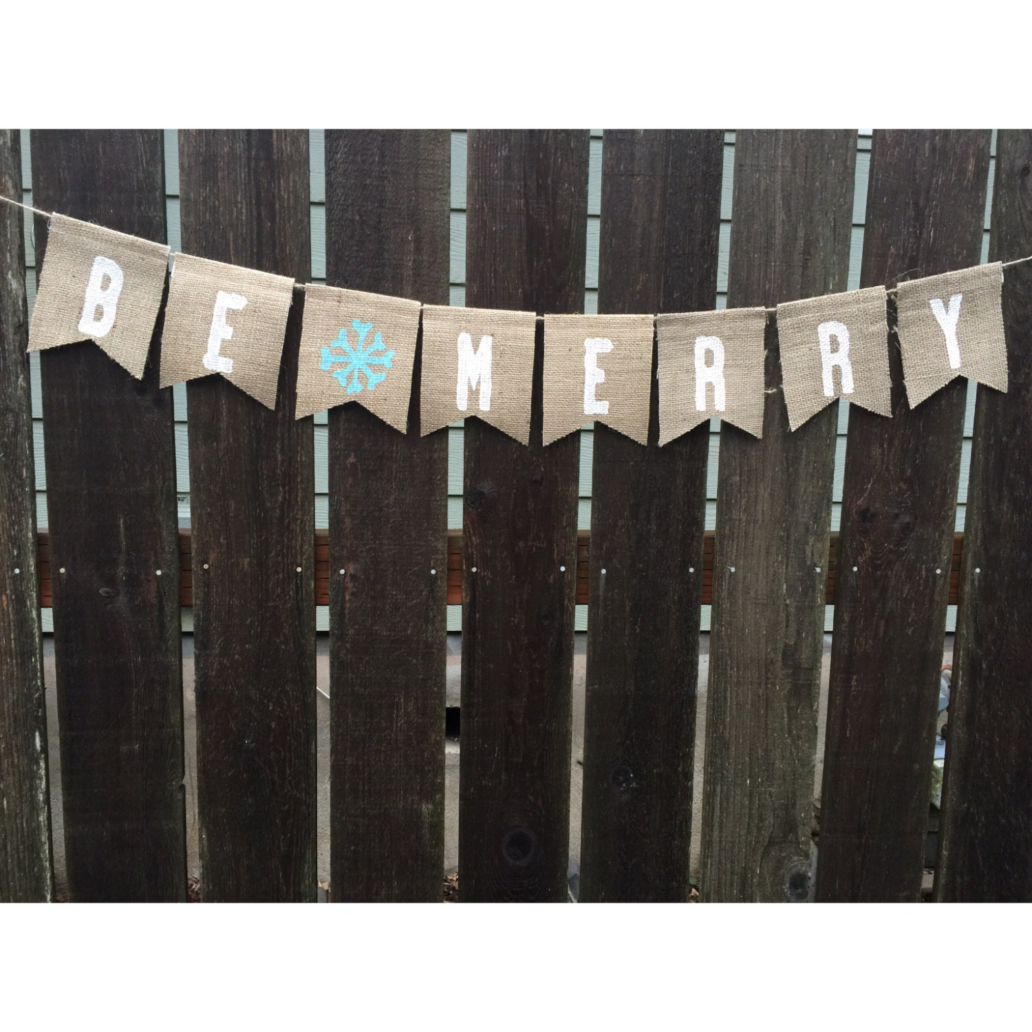 be merry burlap banner christmas banner christmas decoration happy holiday snowflake - Merry Christmas Burlap Banner