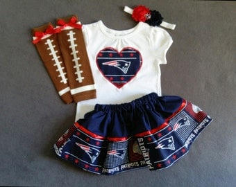 NEW ENGLAND PATRIOTS inspired baby girl 4 piece outfit. skirt, shirt, headband, leg warmers.