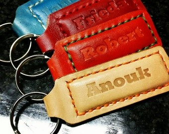 Leather keychains with text of your choice.
