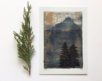Letterpress Print - Gold Moon Over Pine Trees