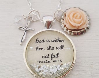 Bible verse necklace, God is within her, she will not fail, Psalm 46:5 necklace, Christian jewelry, Christian gift, cross necklace