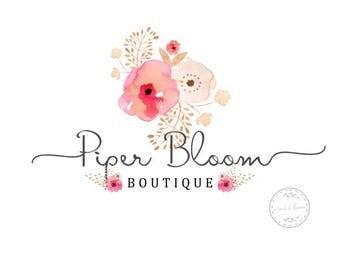 Premade Logo Rustic Floral Peonies Pink Watercolor Calligraphy Modern Custom Shop Logo Business Card Branding Design Wedding Signs LD029