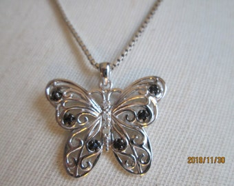 Handcrafted Sterling Silver 925 Designer Genuine Black & White .10ctw Diamond Butterfly Pendant, Weight 3 Grams