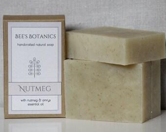NUTMEG - Bee's Botanics Handmade Soap - 100% Natural & Vegan - Cold Process - 4 ounce bar