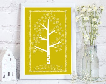 Personalised Family Tree print, Family Tree, Family Print, family tree, personalised family print, tree shaped family print, up to  22 name