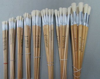 12 pcs Artist Brushes Pure Bristle Round for Oil and Acrylic Please  Choose your size #2-4-6-8-14-16-18-22