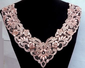 1 pc Salmon Crochet Embroideries Lace Patch Neckline Collar Motif Appliques Crafts Supples  Sew on A212