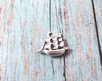Pirate ship charm (3D) silver plated pewter (1 piece) - pirate ship pendant, nautical charm, boating charms, sailing charms, Box 261