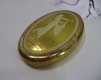Tjoklat metal box. Cameo drops. Amsterdam. Greek Tjoklat fabriek N.V. woman. Art deco. Vintage candy Tin box.