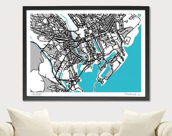Cardiff Art Map - Limited Edition Contemporary Giclée Print