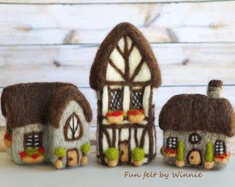 Needle felted Tudor style houses set of 3 handmade OOAK wool sculpture