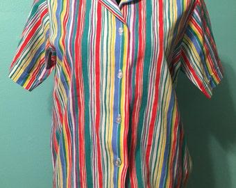 CUTIE rainbow striped shirt