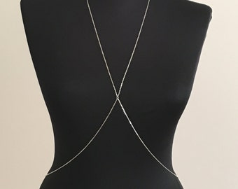 925 Sterling Silver Body Chain / Dainty Body Necklace / Delicate Body Jewelry / Silver Body Chain / Cross Body Chain / BDC1045-01