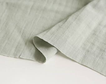 Mint Gray Double Cotton Gauze Fabric by Yard