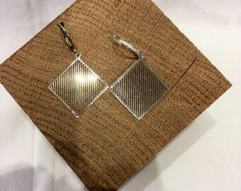 Earrings square and bright streaks, round brass earrings, earrings, gift