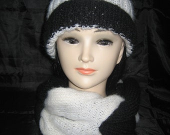 Snood all interlaced with Cap pompon wool mohair and acrylic