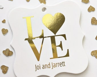 Gold Foiled Wedding Tags, Love Favor Tags, Love Wedding Favor Tags, Love Heart Tags  (FS-023-F)