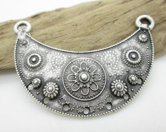 Tribal Pendant Necklace Connector, Gypsy Pendant, Ethnic Pendant, Silver Pewter Connector, 60mm wide, 42mm long (1)
