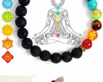 7 Chakra Healing Bracelet with Lava Bead, Mala Meditation Bracelet , Protection, Energy, Healing- Reiki Infused,  Diffuser Bracelet