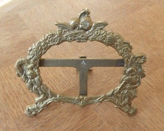 Antique French Photo Picture Frame  Ornate Brass