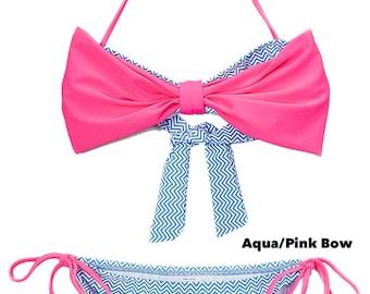 Girls' Bow Bandeau Bikini, Girls' Swimwear, Swimsuit, Bathing Suit, Bikini for Girls, Bikini Top and Bottom, Bow Bandeau