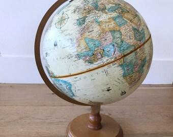 World GLOBE, Vintage Replogle 1970's 12-inch Diameter World Classic series, Mid-Century Desk Globe