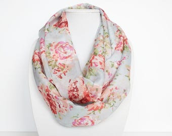 Floral Infinity Scarf, Spring Scarf For Women, Rose Print Scarf, Lightweight Scarf, Nature, Ladies Fashion, Gift For Mom, Bold Print, Pastel