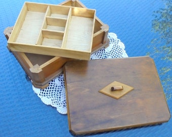 Art Deco Wooden Box with Lift Out Sectioned Tray for All Sorts of Cufflinks, Tie Pins, Trinkets, Nic Nacs, Jewellery Treasures Natural Wood