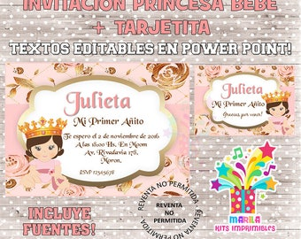 invitation Princess baby baby shower first birthday invitation + thank you card - editable texts - instant download