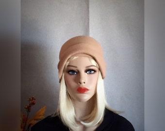 Beige. Cloche. Hat. Wool. Felt. 1920s. 1930s. Cap.